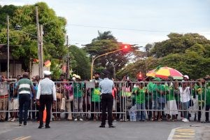 A crowd of APNU+AFC supporters which gathered at the commission