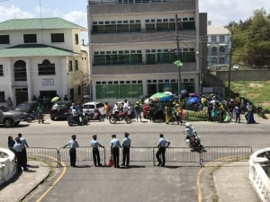 APNU AFC supporters gathered near the Supreme Court awaiting information on the court case