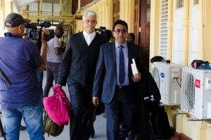 Attorney-at-Law Anil Nandlall and Trinidad's Senior Counsel Douglas Mendes proceeding to the courtroom on Saturday to make their case