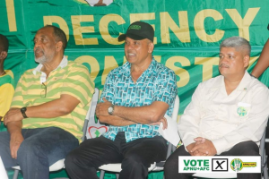 BK International owner Brian Tiwari (center) at one of the APNU AFC rallies