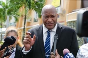 Change Guyana Executive Nigel Hinds speaking to the media