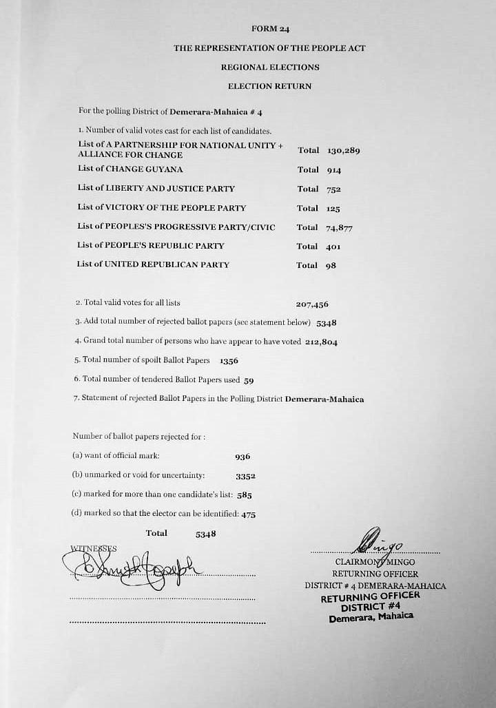 Declaration of Region 4 Results