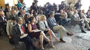 Diplomats and other observers at the OAS elections observer press briefing.