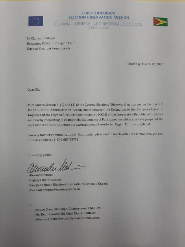 EU demands to see GECOM'S SOPs based on Statutory Arrangement