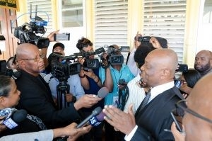 GECOM's Attorney, Senior Counsel Neil Boston, speaking with journalists on his position put before the court.