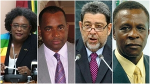L-R - Prime Ministers Amor Mottley, Roosevelt Skerrit, Ralph Gonsalves and Keith Mitchell