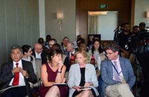 Members of the Diplomatic Corps including US Ambassador, Sarah Ann Lynch, and UK High Commissioner, Greg Quinn, observing the press conference