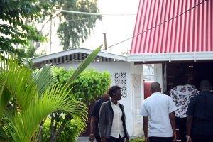 Members of the high-level CARICOM team entering GECOM on Tuesday
