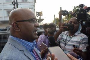 Opposition Leader Bharrat Jagdeo speaking to the media outside of the GECOM Media Centre