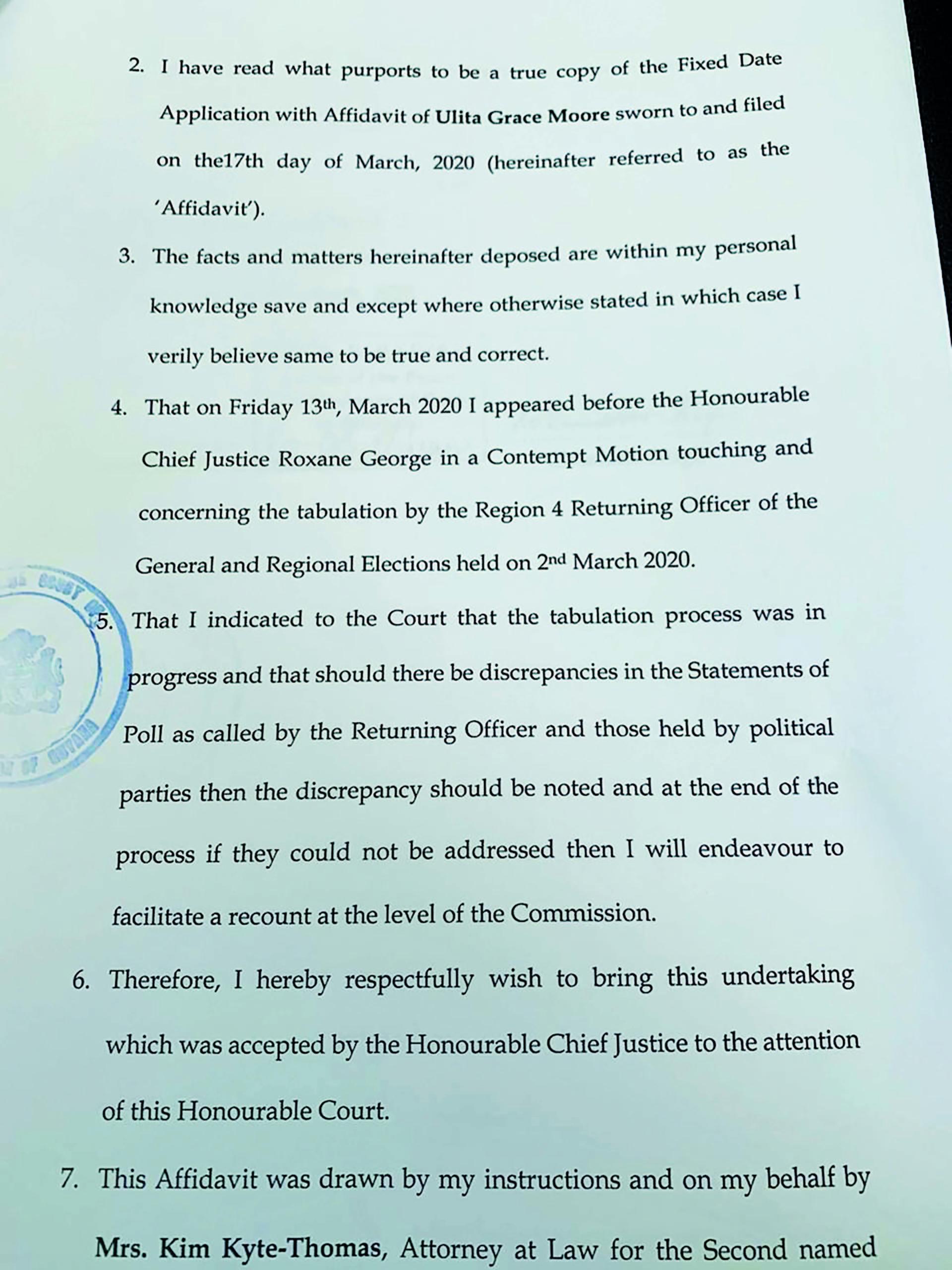 Part of the affidavit filed