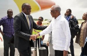 President David Granger greets Prime Minister of Dominica, Rosseveldt Skerrit.