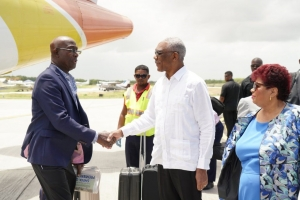 President David Granger greets Prime Minister of Trinidad and Tobago, Dr. Keith Rowley upon his arrival.