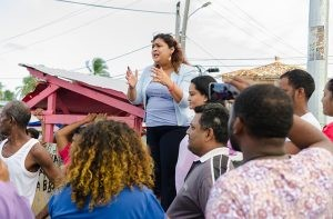 Priya D. Manickchand, a candidate for the PPPC speaking with the crowd at Mon Repos