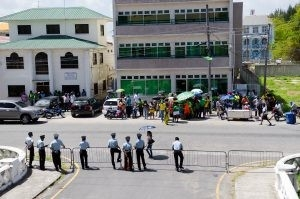 Ranks of the Guyana Police Force guarding the High Court