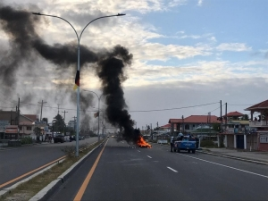 Residents of Mon Repos are burning tires along the East Coast Demerara public Road as protest continues