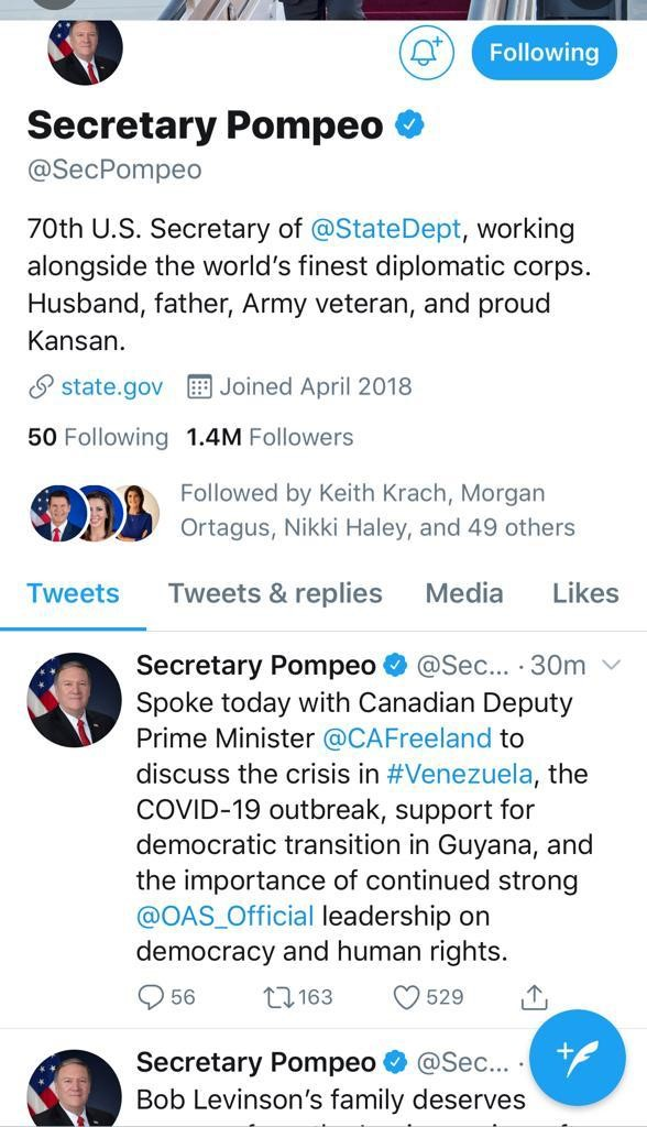 Statement by US Secretary of State Mike Pompeo