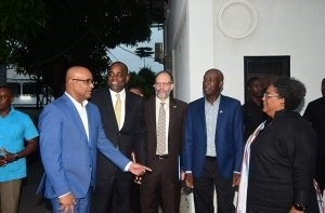 The delegation of CARICOM leaders greets members of the Opposition outside the Office of the Leader of the Opposition