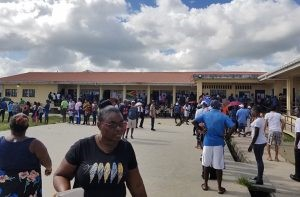 Voters lined up to vote at a polling station at the Wauna Primary School in Region One on March 2