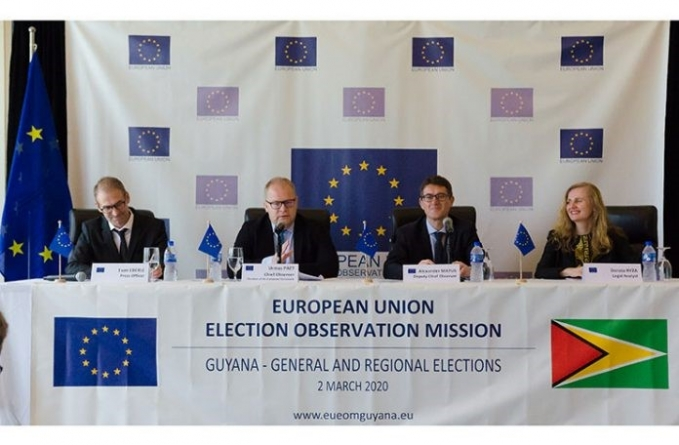 EU Observer Mission blasts APNU+AFC, PPP/C for abuse of state resources