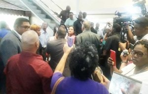 The commotion caused by members of the PPPC and APNU-AFC at the GECOM Command Centre, Hadfield Street.