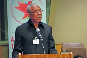 "Guyana: President David Granger ""Guyana has long implemented legislative measures to ensure equitable access of women to the highest offices and to ensure that, at the level of the working class, women can enjoy equal wages for equal work. We seek to build a country in which women and girls can expect to live in safety, to be protected from abuse, such as trafficking in persons, domestic violence and workplace hazards. Guyana continues to make great strides towards achievement of the internationally agreed development goals and objectives relative to gender equality and empowerment of women, particularly in the areas of mainstreaming a gender perspective in policy development and programmes enhancing education and training opportunities for women and girls, [as well as] increasing the participation of women in leadership positions and decision-making circles. We wish to assert our full support for Goal number 5 of the Sustainable Development Goals."" World leaders convene at the United Nations on 27 September 2015 for the ""Global Leaders' Meeting on Gender Equality and Women's Empowerment: A Commitment to Action"" to personally commit to ending discrimination against women by 2030 and announce concrete and measurable actions to kick-start rapid change in their countries.  Read More: http://www.unwomen.org/en/news/stories/2015/9/press-release-global-leaders-meeting Read every country's committment from the event: http://beijing20.unwomen.org/en/step-it-up/commitments Photo: UN Women/Sarah Stacke"