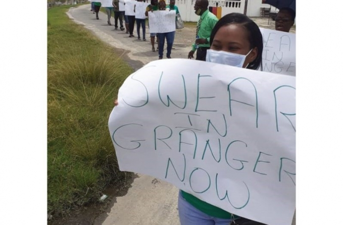 Essequibo Coalition supporters call for Granger to be sworn in