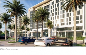 An artist image of the front façade of the planned hotel