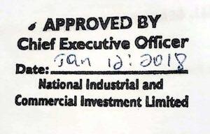 NICIL's Board decision approval.