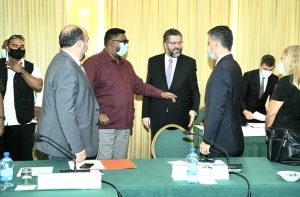 President Irfaan Ali engages Brazil's Minister of External Relations, Ernesto Araújo, and other members of the delegation from Brazil