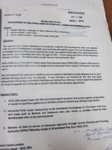 The purported 'Board Note' provided by Heath-London attorney, Nigel Hughes.