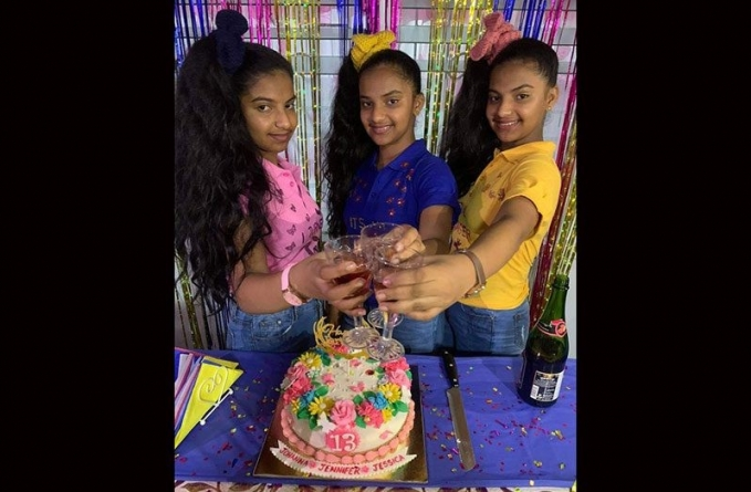 Cheers! Canje triplets turn 13